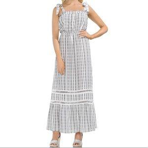 Vince Camuto NWT XS Stripe Tie Shoulder Maxi Dress